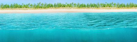Wide horizontal design of tropical background split by sea water and beach 版權商用圖片