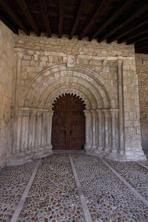 Portico of the Romanesque church of San Bartolomé. Campisábalos (Guadalajara, Spain) Imagens