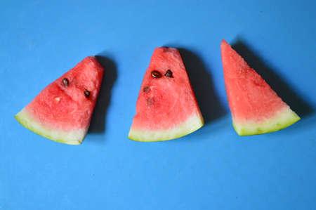 blue background: watermelon on blue background