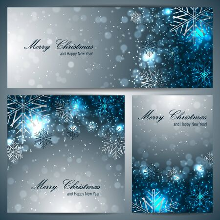 Set of christmas banners with snowflakes Vector