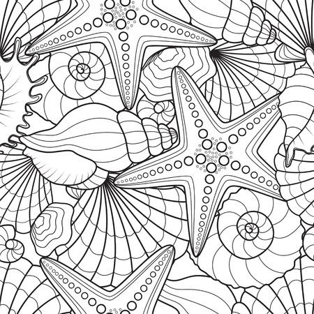 conchas: Sin problemas de fondo con estrellas de mar y conchas marinas Vectores