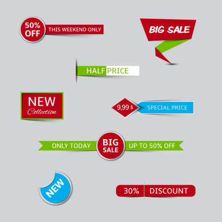 Collection of sale banners and discount banners Illustration