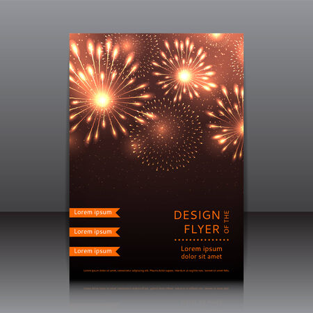 design of the flyer with fireworks