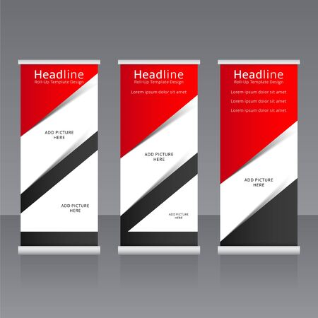 spring roll: Vector roll up banners templates illustration