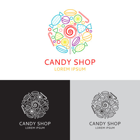 candy store: Vector logo of candy shop in linear style. Vector illustration. Templates of icons of candies in linear style.