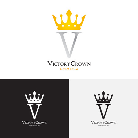 gold crown: Vector template of victory crown