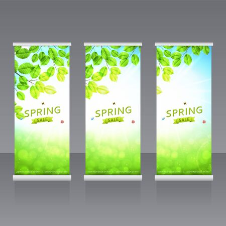 spring roll: Vector roll up banners templates. Vector template horizontal banner with spring sale advertising. Illustration