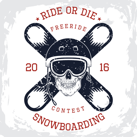 freeride: Design of the vector typographic of t-shirts and for other uses. Vector illustration.