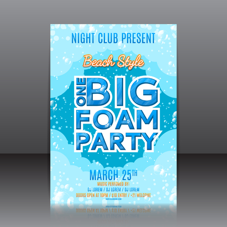 foam party: Template of invitation on a foam party. Vector template for your business in A4 size.
