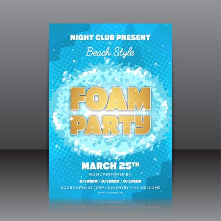 Template of invitation on a foam party. Vector template for your business in A4 size.
