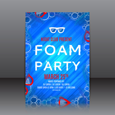 Blue template of invitation on a foam party. Vector template for your business in A4 size. Illustration