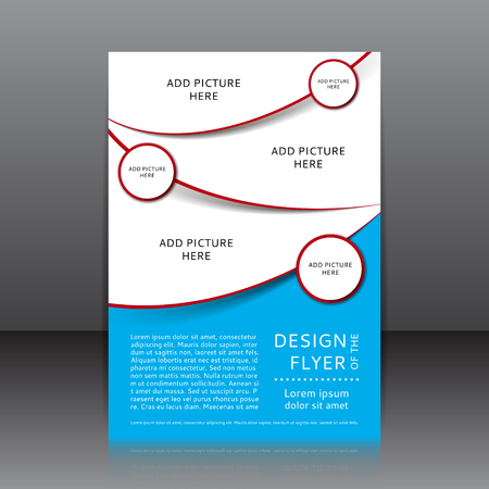 poster template: Vector design of the blue flyer with red elements. Poster template for your business.