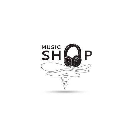 decibels: Vector music shop template. Vector icon earphones for your design. Illustration