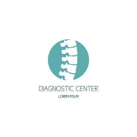 vertebra: Spine diagnostic center logo. Vector illustration.