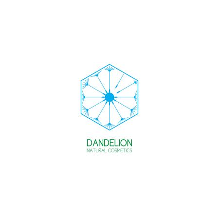 natural cosmetics: Concept of template logo dandelion. Symbol of natural cosmetics.