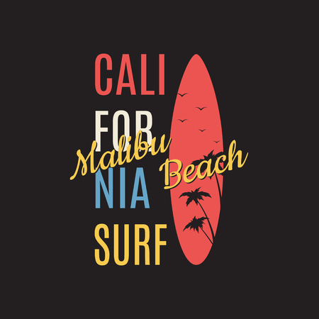 malibu: California surf illustration typography. Vector graphics of t-shirts.