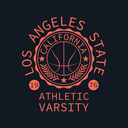 varsity: Athletic varsity stamp for typography. It is Vector graphics print for t-shirts.