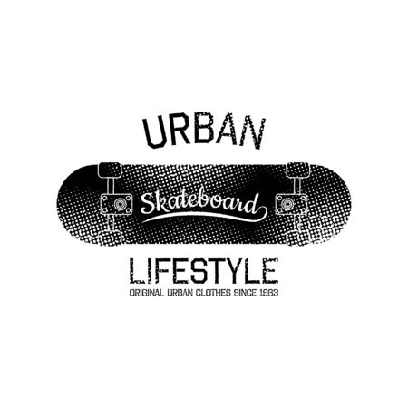 Stamp of urban lifestyle for typography. It is Vector graphics print for t-shirts with skateboard.