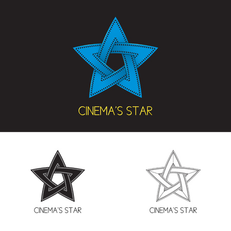 cinematograph: cinemas star. Concept of cinema in the form of star with films tape. Three options, two black-and-white, one color.
