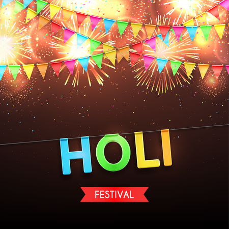 Beautiful color vector background with fireworks and with a garland from flags and confetti for Indian festival Holi celebrations. Vector illustration. Illustration