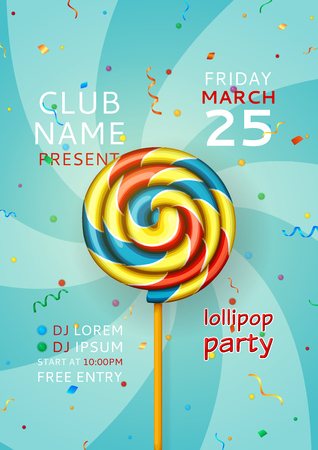 Invitation for disco party with color realistic swirl candy. Vector illustration.