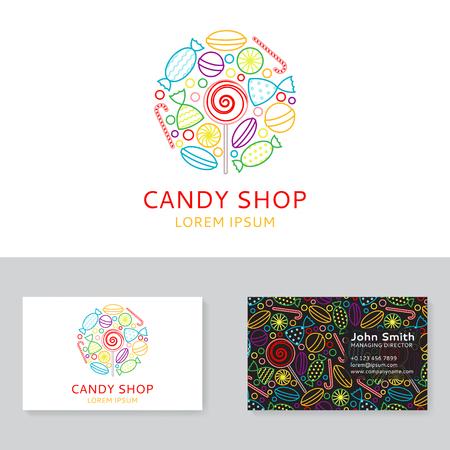トレンディな直線的なスタイルのお菓子アイコンと背景。ベクトルの図。