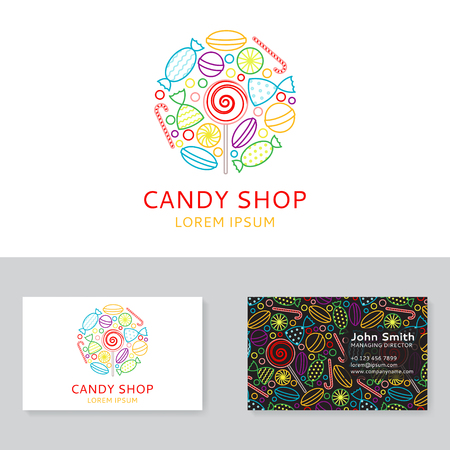 caramel candy: Background with candy icons in trendy linear style. Vector illustration.