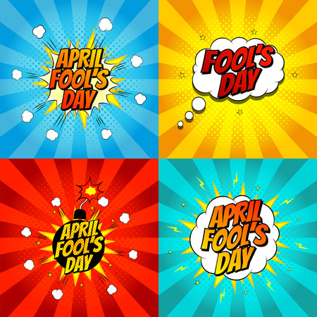 Vector illustration. Decorative set of backgrounds for april fools day with bomb explosive.