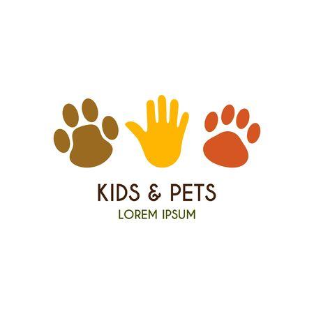 Kinderen en huisdieren template. Creative vector sjabloon van het ontwerp voor dierenwinkel of kinderboerderij. Pictogram van een palm van het kind, icoon van een poot van een pup, icoon van een poot van een kitten.