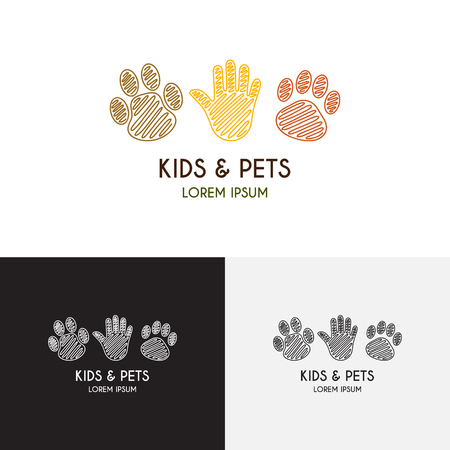 Creative vector template of design  for pet shop or petting zoo. Icon of a palm of the child, icon of a paw of a puppy, icon of a paw of a kitten.