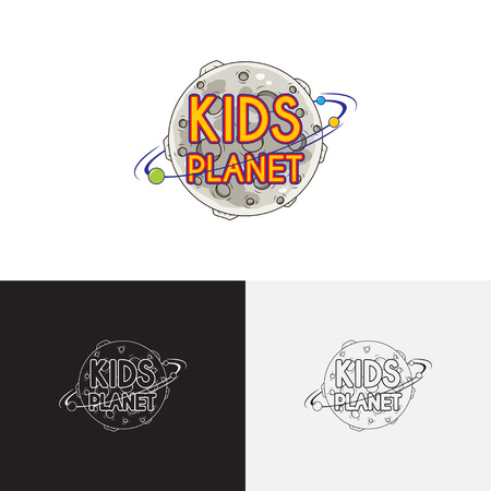 petting zoo: Kids planet playground. Creative vector template of design logo of kids place and kids playground. Icon of a planet.