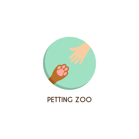 petting zoo: Petting zoo template. Creative vector template of design of petting zoo or pet shop. Icon of a palm of the child and icon of a paw of a dog in the form of circle.
