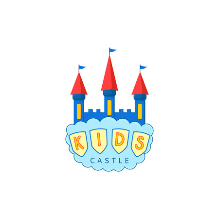 Kids castle playground. Creative vector template of design of kids place or kids playground. Icon of a castle with a cloud.