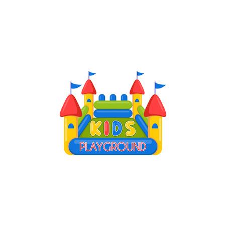 Niños castillo inflable patio de recreo. vector de plantilla creativa del diseño de los niños el lugar o juegos infantiles. Icono de un castillo inflable.