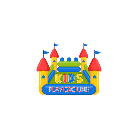 Kids inflatable castle playground. Creative vector template of design of kids place or kids playground. Icon of a inflatable castle. Illustration