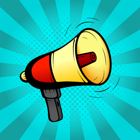 announcement icon: Loudspeaker or megaphone in retro pop art style. Vector illustration. Icon of loud-hailer in pop art style on a blue background. Illustration