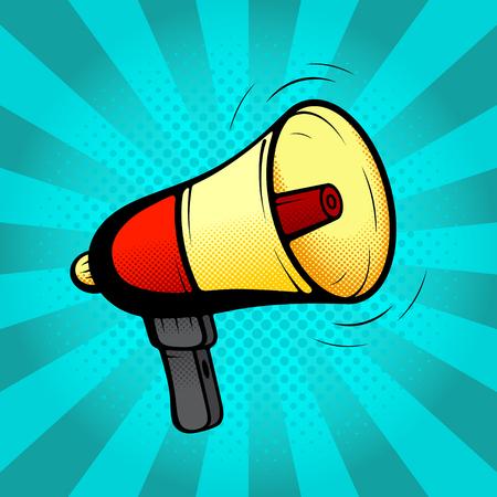 warning icon: Loudspeaker or megaphone in retro pop art style. Vector illustration. Icon of loud-hailer in pop art style on a blue background. Illustration