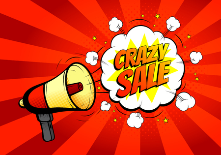 prices: Crazy sale banner with loudspeaker or megaphone in retro pop art style. Vector illustration. Icon of loud-hailer in pop art style with bomb explosive background.