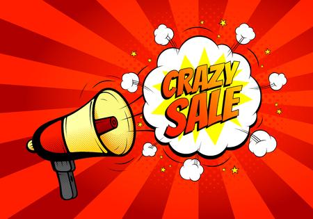 Sprzedaż Szalony transparent z głośnika lub megafon w retro stylu pop. ilustracji wektorowych. Ikona głośno hailer w stylu pop z wybuchem bomby tle.