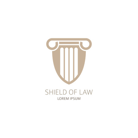 Lawyer logo in the form of shield with greece column. Vector illustration.