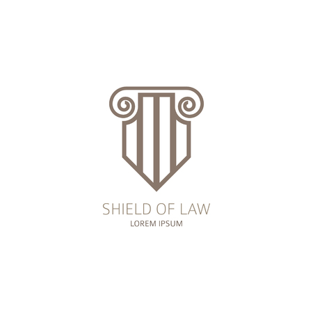 Lawyer in the form of shield with greece column. Vector illustration. Ilustracja