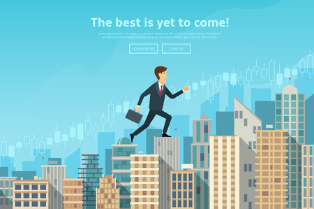 success man: Concept of web banner with person walking to the sucsess. Modern flat design of urban landscape with city buildings, vector illustration.
