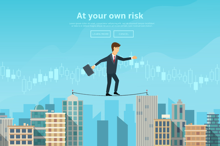 Concept of web banner with person walking on the rope. Modern flat design of urban landscape with city buildings. Illustration