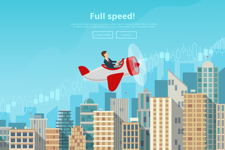 Concept of web banner with person flying on plane to the sucsess. Modern flat design of urban landscape with city buildings, vector illustration.