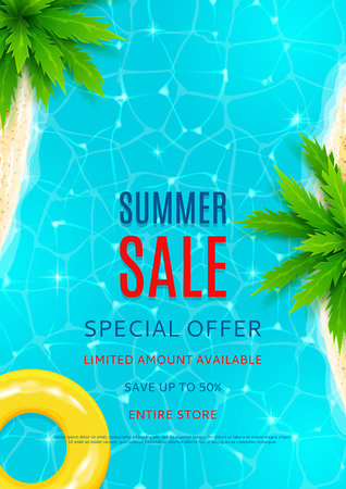 lowest: Beautiful background on the sea topic with sea shore, sea water and palm trees for advertising. Vector illustration.