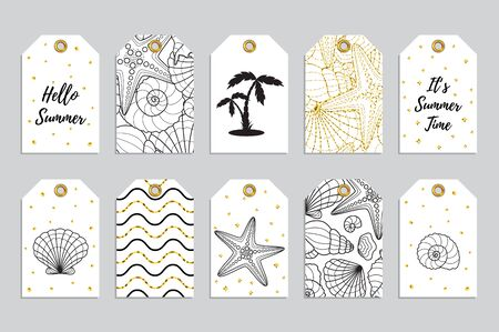 Set of 10 printable hand drawn summer holiday label in black white and gold colors. Vector design of seasonal badges.