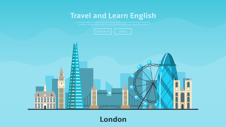 Background with modern flat design of urban landscape with city buildings of London. Vector illustration.