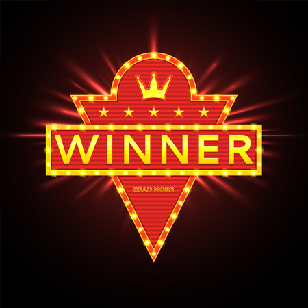 Vector illustration for winners of poker, winners of cards and winners of roulette.