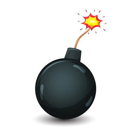 wick: Icon of cartoon bomb ready to to explode with burning wick. Vector illustration.