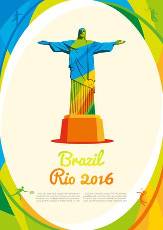 jeu de carte: Arri�re-plan avec la vue principale Rio de Janeiro en couleurs, Bienvenue au Br�sil 2016. Vector mod�le de plus, brochure, affiche, rapport pour votre entreprise en format A4 �ditoriale